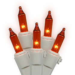 100 Mini Amber Christmas Light Set White Wire 3 Inch Spacing