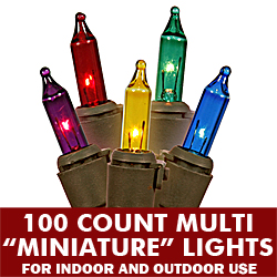 100 Multi Color Christmas Light Set 4 Inch Spacing Brown Wire