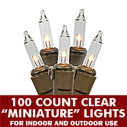 100 Clear Christmas Light Set 4 Inch Spacing Brown Wire