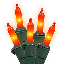100 Mini Orange Christmas Light Set Green Wire 4 Inch Spacing