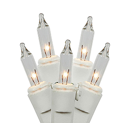 35 Clear Mini Incandescent Christmas Light Set 4 Inch Spacing White Wire