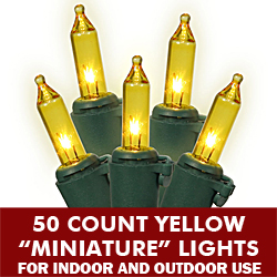 50 Mini Gold Extra Long Christmas Light Set Green Wire