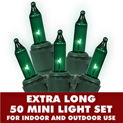 50 Mini Commercial Quality Green Christmas Light Set Lamp Locks Green Wire
