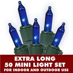 50 Mini Commercial Grade Blue DuraLit Extra Long Christmas Light Set Green Wire