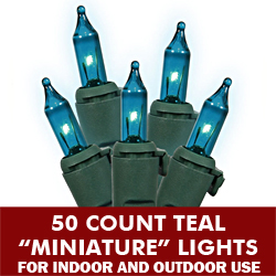 50 Mini Teal Extra Long Christmas Light Set Green Wire