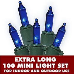 100 Mini Blue Extra Long Christmas Light Set With Lamp Locks Green Wire