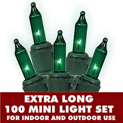 100 Mini Green Extra Long Christmas Light Set With Lamp Locks Green Wire