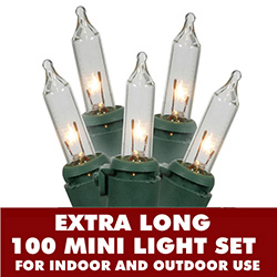 100 Mini Clear Extra Long Christmas Light Set With Lamp Locks Green Wire