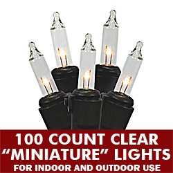 100 Mini Clear Extra Long Christmas Light Set Black Wire