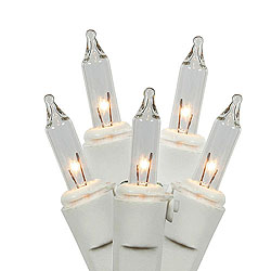 50 Clear Christmas Light Set White Wire