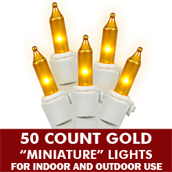 50 Gold Mini Incandescent Christmas Light Set - White Wire