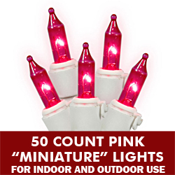 50 Pink Mini Incandescent Christmas Light Set White Wire 5.5 Inch Spacing