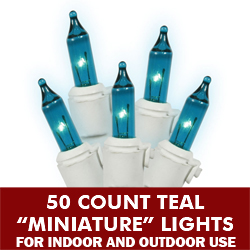50 Mini Teal Extra Long Christmas Light Set White Wire