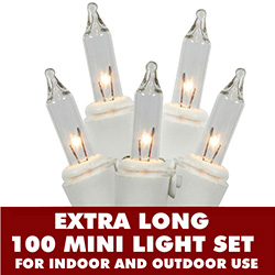 100 Mini Clear Extra Long Christmas Light Set White Wire