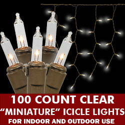 100 Clear Icicle Lights Brown Wire
