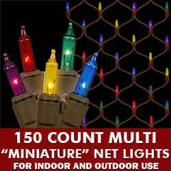 150 Clear Lights 2 Foot x 8 Foot Net Brown Wire