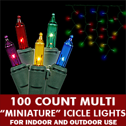 100 Light Multi Icicle Set Green Wire