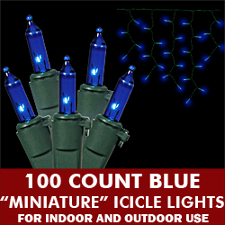 100 Blue Icicle Lights Green Wire
