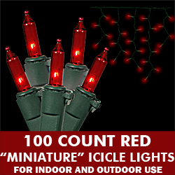 100 Light Red Icicle Set Green Wire