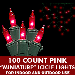 100 Pink Mini Incandescent Christmas Icicle Light Set Green Wire