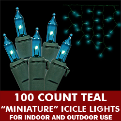 100 Light Teal Icicle Set - Green Wire