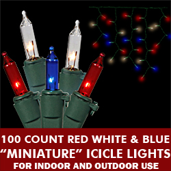 100 Patriotic Red White and Blue Incandescent Icicle Set - Green Wire