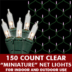 150 Clear Mini Incandescent Christmas Net Light Set Green Wire