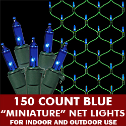150 Blue Mini Incandescent Christmas Net Light Set Green Wire