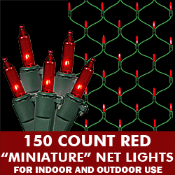 150 Red Mini Incandescent Christmas Net Light Set Green Wire