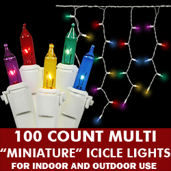 100 Multi Icicle Lights White Wire