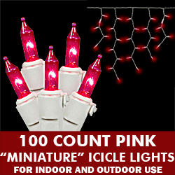 100 Pink Mini Incandescent Christmas Icicle Light Set White Wire