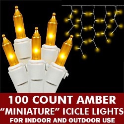 100 Amber Icicle Lights White Wire