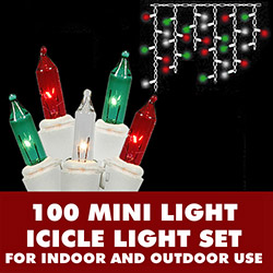 100 Red Green And Clear Icicle Lights White Wire