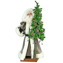 6 Foot Platinum Father Christmas With Tree Decoration