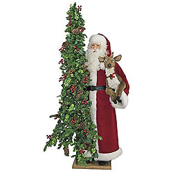 6 Foot Father Christmas With Decorated Tree And Reindeer