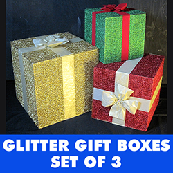 Glitter Gift Boxes Set Of 3