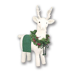White Reindeer Footrest With Green Trim