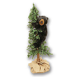 4 Foot Alpine Tree With Bear Decoration