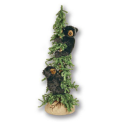 5 Foot Alpine Tree with 2 Frolicing Tree Bears Decoration
