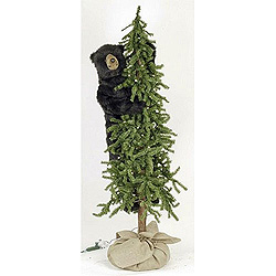 5 Foot Alpine Tree With Bear Decoration