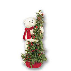 40 Inch Pine Artificial Christmas Tree With A Climbing Bear