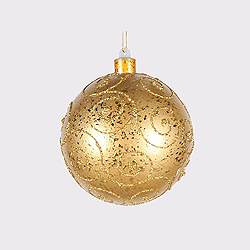 5.5 Inch Gold Round Ornament With Gold Glitter Design