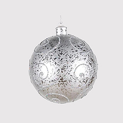5.5 Inch Silver Round Ornament With Silver Glitter Design