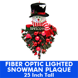 25 Inch Battery Operated Snowman Plaque