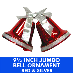 9.50 Inch Jumbo Plastic Bells Red and Silver