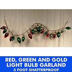 4 Foot Plastic Bulb Garland Green Red and Gold