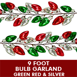 4 Foot Plastic Bulb Garland Red Green and Silver
