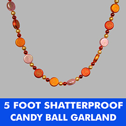 5 Foot Orange Candy Shaped Bead Garland