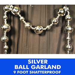 9 Foot Plastic Ball Garland Silver