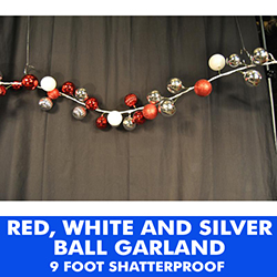 9 Foot Plastic Ball Garland Red White And Silver